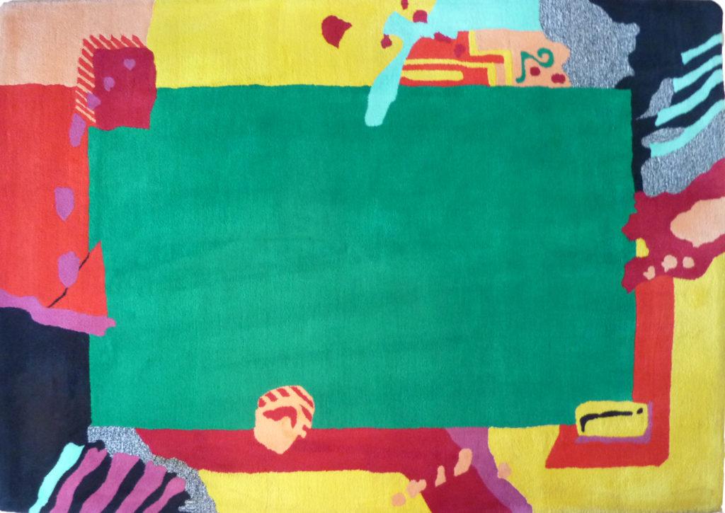 Kamexko Product Kilim rectangle carpet living room children room Collage Pour Enfant dark green