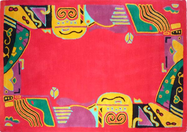 Kamexko Product Kilim rectangle carpet living room children room Fantasia (red)